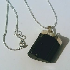 Jewelry - Huge Chunk of Black Tourmaline 925 Silver Necklace